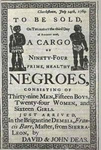 Annonce d'une vente d'esclaves à Charleston, 1769 (musée d'ethnographie de Genève)